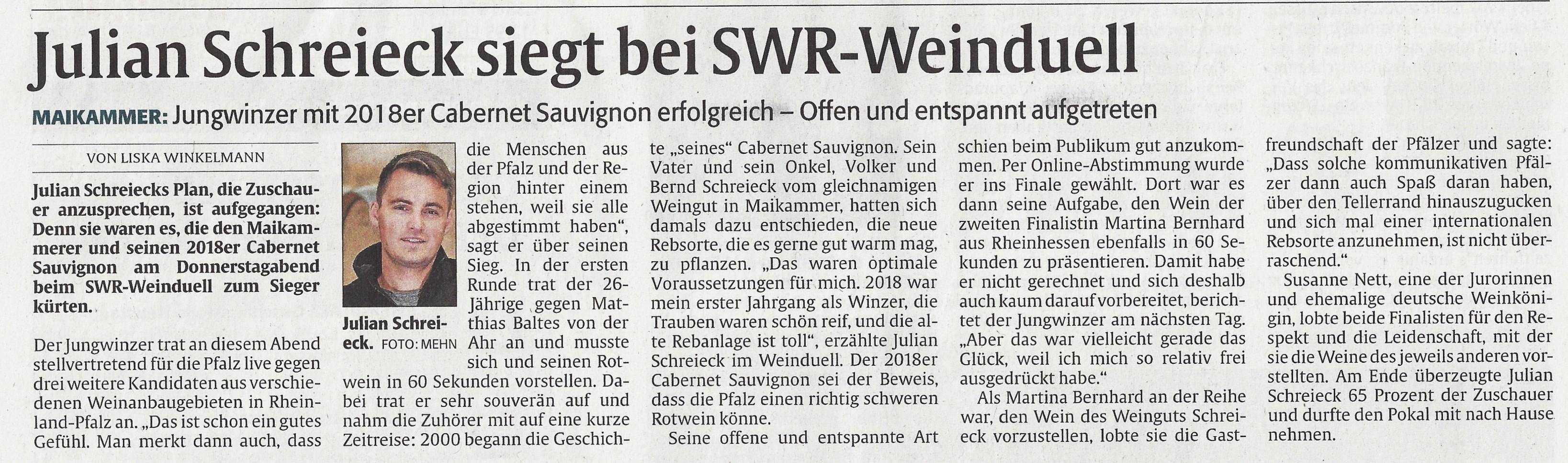 Rheinpfalz Sieger Weinduell